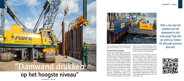 Damwand drukken op het hoogste niveau - Artikel Grond- Weg- & Waterbouw - IJmuiden Zeesluis